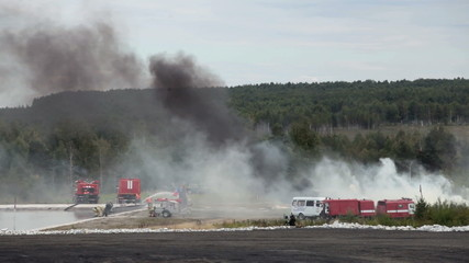 Demonstration of work of firemen