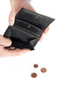 hand holding a wallet almost empty, with a few coins