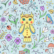cute owl and abstract flowers
