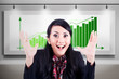 Excited businesswoman with profitable bar chart