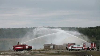 Demonstration of work of firemen