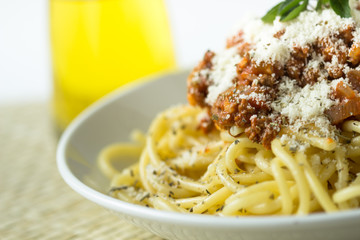 pasta spaghetti bolognese with tomato and meat sauce