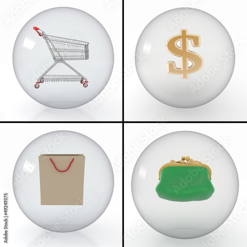 set of different objects for purchase in shop in balls