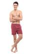 Young man in underwear