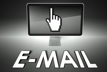 Screen and hand icon with E-mail, Internet