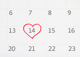 Calender page of the valentine day