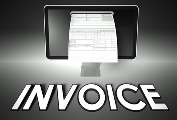 Screen and invoice with Invoice, Tax