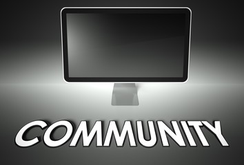 Computer blank screen with word Community