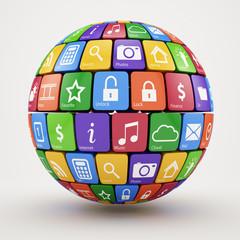 Colorful social media sphere