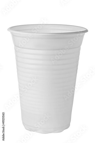 White plastic cup isolated on white background