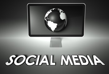 Screen and globe with Social media, Network