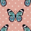 Seamless Background Pattern with Butterfly and Polka Dots