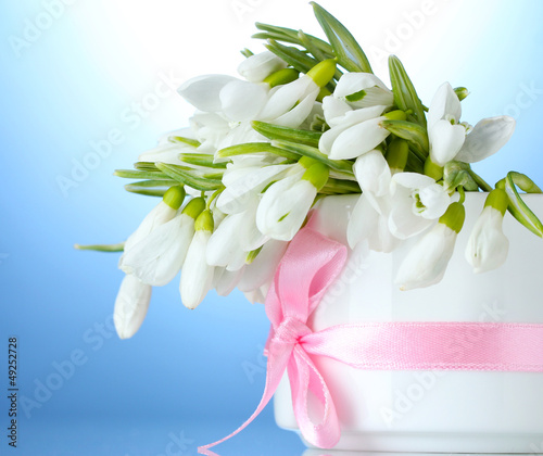 beautiful bouquet of snowdrops in vase with bow