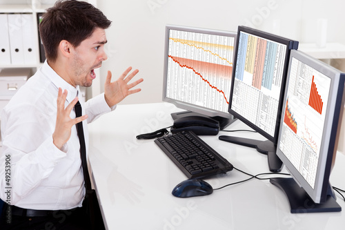 Worried stock broker