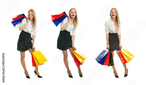 Photos of young woman with shopping bags