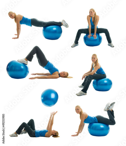 Set of fitness exercise photos