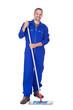 Happy Sweeper Cleaning Floor