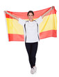 Portrait Of A Woman Holding Spanish Flag