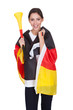 Happy Female German Supporter With Vuvuzela