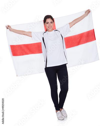 Pretty Woman Holding An English Flag