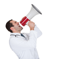 Male Doctor Shouting In Megaphone