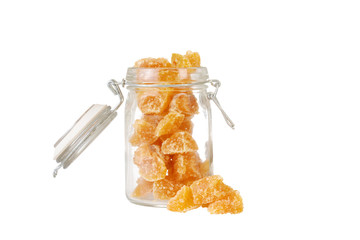 Isolated candied ginger in a jar