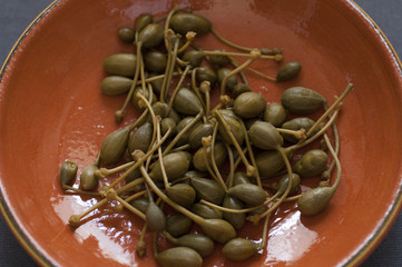 Close-up view of italian Capers
