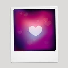 Vector heart sign on polaroid frame