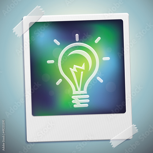 Vector light bulb icon on polaroid frame