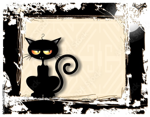 Gatto Nero Sornione-Cattish Cat Clip Art Grunge Card