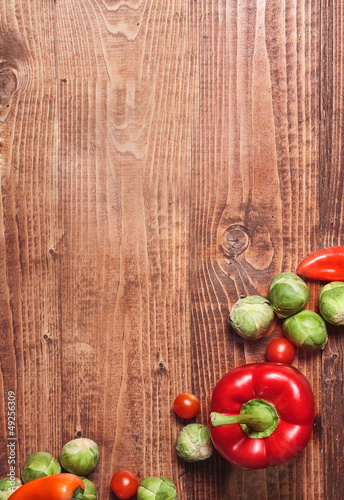 Composition of veggies on wood