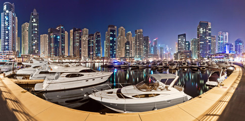 Dubai marina yachtclub at night