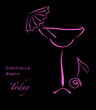 Cocktail party. Pink silhouette of alcohol cocktail in glass