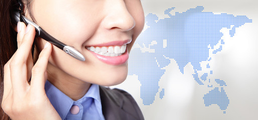 close up of asian business woman operator