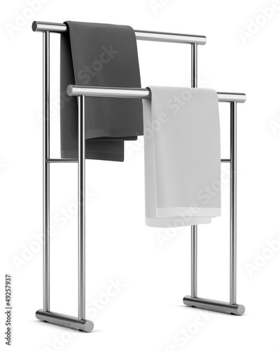 two towels on standing hanger isolated on white background