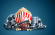 movie film reel and popcorn vector illustration on the blue