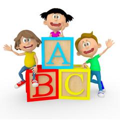 3D kids with ABC cubes