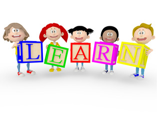 3D kids with the word learn