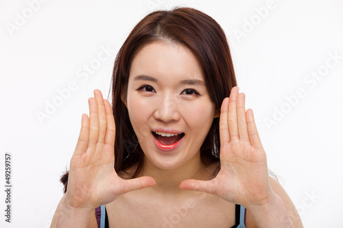 Saying young asian woman