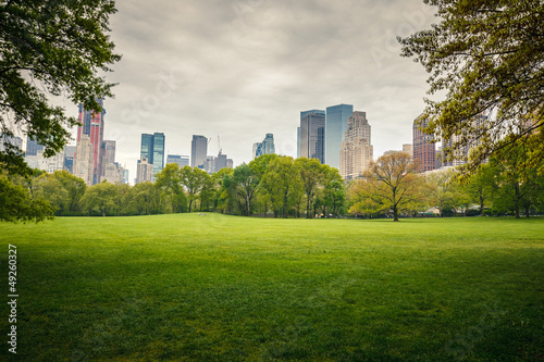 Foto Spatwand New York Central park at rainy day