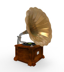 Old Gramophone with Horn Speaker