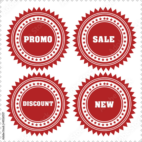 promo, sale, discount, new labels and stickers