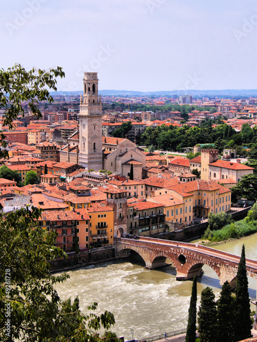 View over the city of Verona, Italy with Ponte di Pietra