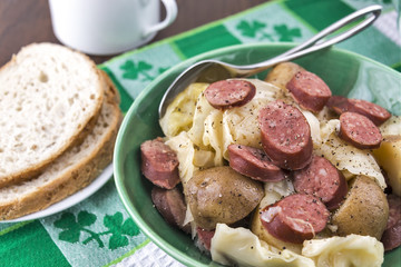 slow cooked cabbage, potatoes and smoked sausage