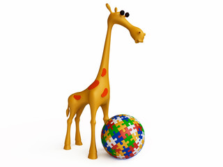 Funny Giraffe Playing with Jigsaw Puzzle Ball