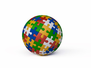 Jigsaw Puzzle Ball in 3D