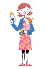 哺乳瓶を持つお母さんと赤ちゃん