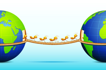 Ants connecting two World