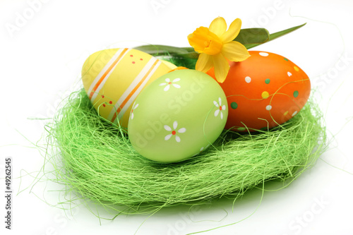 Easter eggs on nest