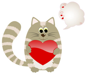 Cute cat with heart and speech bubble.